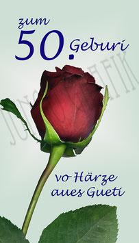 Weinetikette 50. Geburtstag Rose
