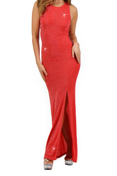 Robe glamour dos nu rouge Seda