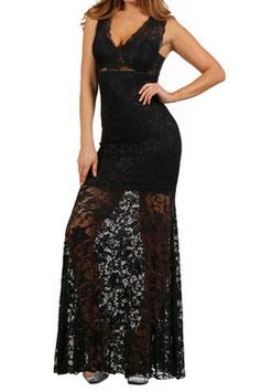 Robe glamour longue dentelle sur le bas noire Lucie