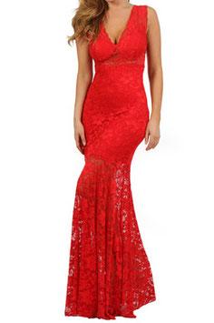 Robe glamour longue dentelle sur le bas rouge Lucie