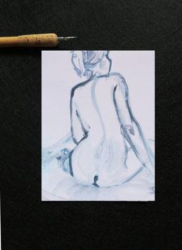 1 Postkarte Frau Rücken Akt Studie, Digitaldruck von Original