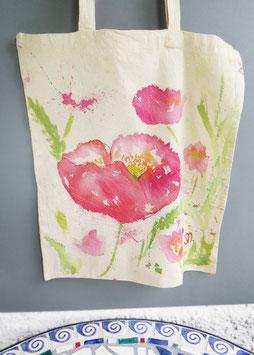 Reserviert -Stoff Tasche Mohn Einkaufstasche, Floral Illustration, Einzelstück
