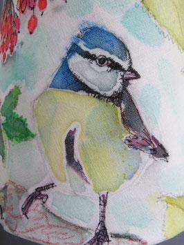 """Lampenschirm, """"Vogelschutz"""" Gartenvögel – Rotkehlchen, Blaumeise, Zaunkönig"""