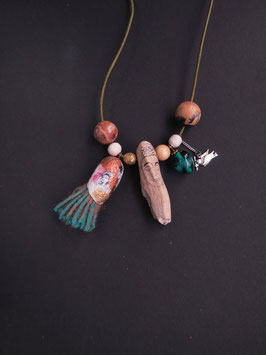 Kette lang Treibholz Buddha Holz Lampwork Perle handgemacht