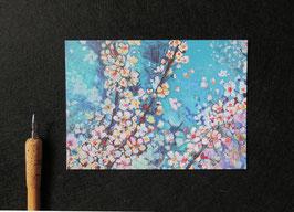 """1 Postkarte, Digitaldruck von Original Leinwand Malerei """"Mirabellenblüte"""" Gouache"""