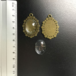 2x Flower setting + 2x cabochon S075