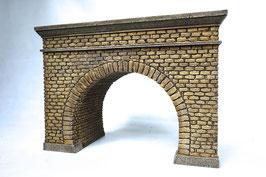 Tunnelportal 2 Gleisig mit Röhre  Spur 0  1:45 koloriert bemalt gealtert