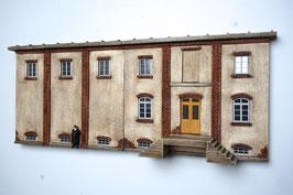 Relief Genossenschafts Gebäude  Spur 0  1:45 koloriert bemalt gealtert