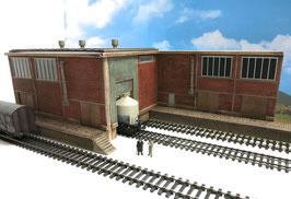 Zucker Fabrik mit 2 Rampen Einfahrt Rechts Spur 0  1:45 koloriert bemalt gealtert