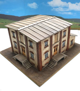 Genossenschafts Gebäude 4 Seiten mit Schuppen  Spur 0  1:45 koloriert bemalt gealtert