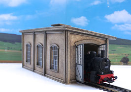Lokschuppen einzel für Dampf u. Dieselloks   Spur 0 1:45 koloriert bemalt gealtert