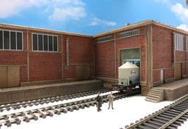 Zucker Fabrik mit 2 Rampen Einfahrt Links Spur 0  1:45 koloriert bemalt gealtert