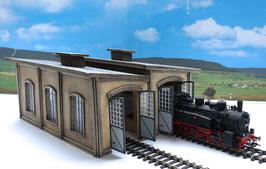 Lokschuppen doppel für Dampf u. Dieselloks   Spur 0 1:45 koloriert bemalt gealtert