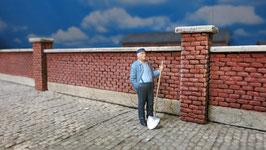 5 Ziegelmauern Spur 1 1:32 bemalt gealtert
