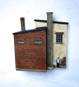 Manufakturgebäude Spur 0  1:45 koloriert bemalt gealtert