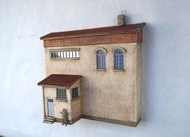 Lagerhaus mit  kleinem Anbau  Spur 0  1:45 koloriert bemalt gealtert