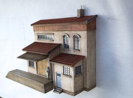 Lagerhaus mit 2 Anbauten und Rampe Spur 0  1:45 koloriert bemalt gealtert