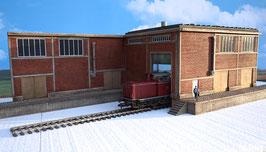 Zucker Fabrik  Gebäude mit 2 Rampen Einfahrt  Links Spur 1  1:32 koloriert, bemalt , gealtert