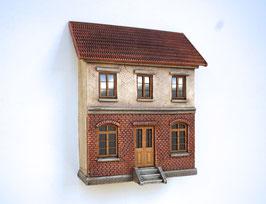 Eisenbahner-Wohnhaus im Halbrelief  Spur 0  1:45 koloriert bemalt gealtert