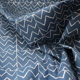 Baumwollstoff Zigzag - deep blue