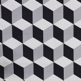 Baumwollstoff - Cube - schwarz & weiß