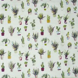 Baumwollstoff Kaktus - bordeaux