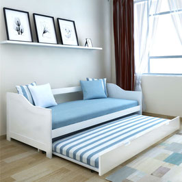 Bett Ausziehsofa/ Schlafcouch Pinienholz Weiß 200x90 cm