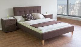 Polsterbett 160 x 200 cm oder 180 x 200 cm braun Stoffbett inkl. Lattenrost