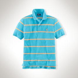Ralph Lauren Neon-Baumwollpolo blau/orange gestreift