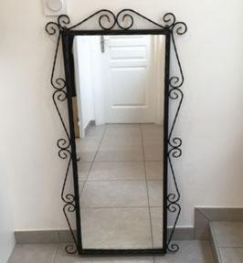Grand miroir fer forgé torsadé 52 x108 cm - années 50
