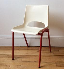 Chaise maternelle plastique et métal ivoire / rouge