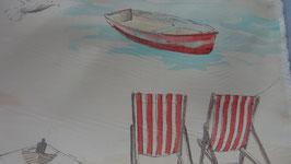Dekostoff creme  Seebrücke mit Strandkörbe rot  1,40 m breit