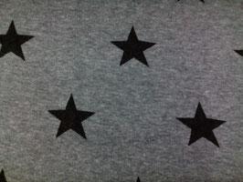 Alpenfleece grau meliert mit schwarzen Sternen 302392/90