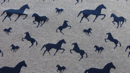Sweat grau mit blauen Pferden