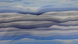 Jersey Aquarell - Wellen blau grau