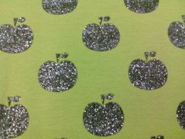 Jersey hellgrün mit grauen Glitteräpfeln