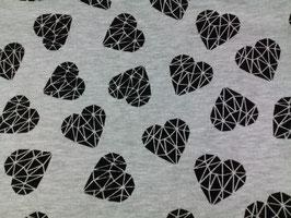 Jersey grau mit schwarzen Herzen 910180/90