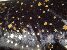 Pannesamt schwarz mit goldenen Sternchen