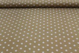 Baumwolle hellbraun kleine weiße Sterne
