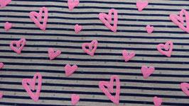 Jersey weiß / schwarz gestreift mit rosa Schaumherzen