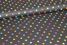 Baumwolle schwarz mit großen bunten Punkten