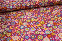 Feinkord Blumen/ Schmetterlinge pink 700543
