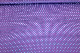 Baumwolle lila mit kleinen blauen Punkten