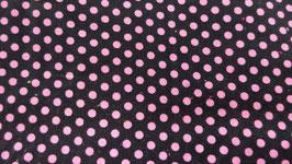 Feinkord schwarz mit rosa Punkten