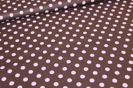 Baumwolle braun mit großen rosa Punkten