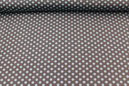 Baumwolle braun mit mittelgroßen blauen Punkten