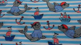 Jersey weiß mit türkisblauen Streifen  und Seehunden , Booten und Anker