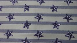 Jersey  mint mit grauen Streifen  und blauen Seesternen