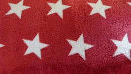 Fleece  rot mit weißen Sternen