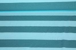 Jersey dicke hellblau mit petrolen Streifen 100152/58